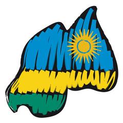mappa bandiera Ruanda