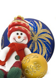 Cuddly Christmas decoration toy with colorful New Year Balls poster