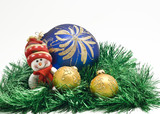 Plush Christmas toy with three colorful New Year decoration Ball poster