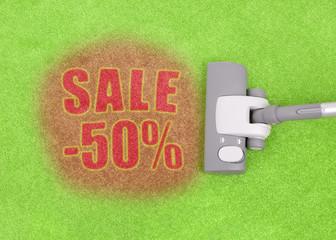 Half price sale concept