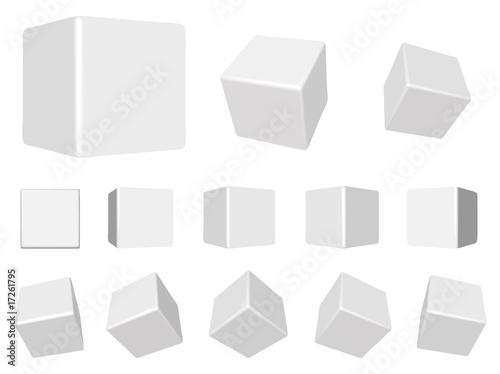 vector white 3d cubes