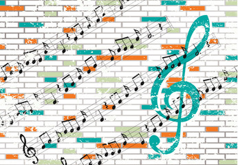Brick wall and musical notes design