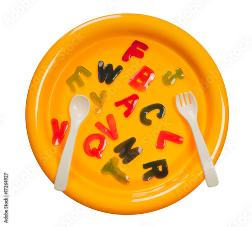 Plate of jelly alphabets