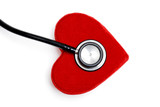 stethoscope on a plush red heart box poster
