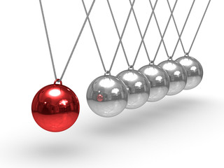 Balancing spheres on white background. Isolated 3D image