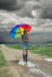 Girl &  rainbow umbrella