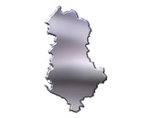 Albania 3D Silver Map poster