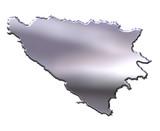 Bosnia and Herzegovina 3D Silver Map poster