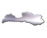 Latvia 3D Silver Map poster