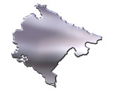 Montenegro 3D Silver Map poster