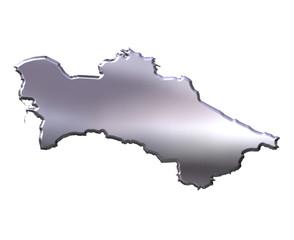 Turkmenistan 3D Silver Map
