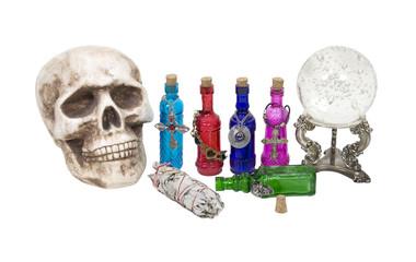 Skull, Crystal Ball, Herbs and Magic Potions