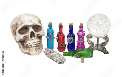 Skull, Crystal Ball, Herbs and Magic Potions