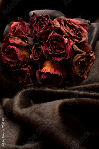Bunch of Red Dry Roses