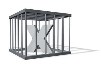 der buchstabe x in einem käfig