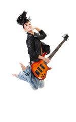 Beautiful rock-n-roll girl jumping with guitar isolated
