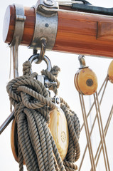 Wooden sailboat detail
