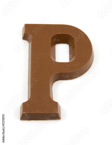 Chocolate letter P for Sinterklaas party over white background
