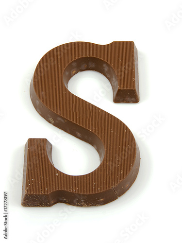Chocolate letter S for Sinterklaas party over white background