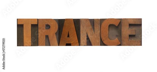 the word 'trance' in old wood type