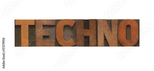 the word 'techno' in old wood type