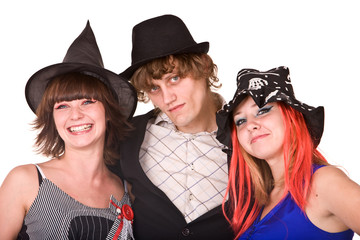 Group of people in  witch Halloween  costume.  Isolated.