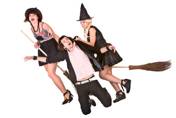 Girl witch on broom  bear helpless man.Isolated.