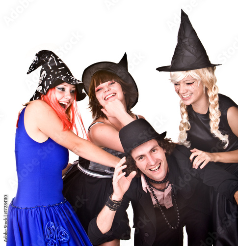 Group of people in  Halloween  witch costume. Isolated.