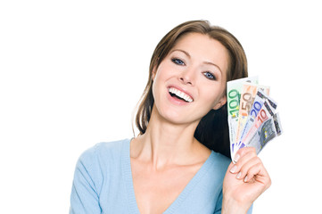 Hübsche Frau hält Euro Geldfächer