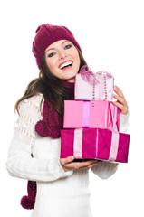 Hübsche Frau mit 3 Geschenken