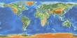 Weltkarte mit Relief