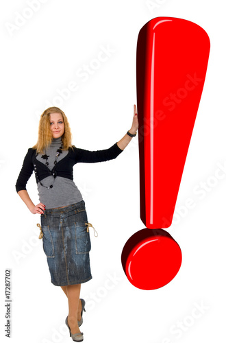 Blonde Girl With Glow Red Exclamation Sign. Isolated On White Ba
