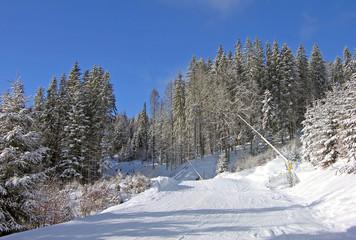 Ski track of Bukovel resort, Carpathian mountains, Ukraine