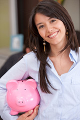 Bsuiness woman with piggy bank
