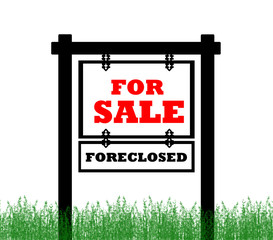 Real Estate home for sale sign, foreclosed