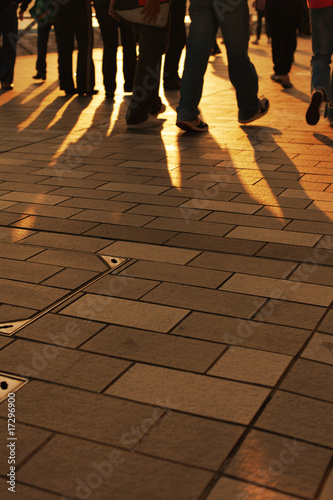 Shadows of people walking, Hong Kong