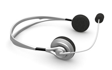3d render- headphones on white background