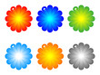 colorful flowers buttons vector illustration
