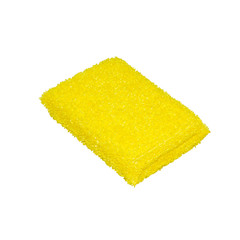Yellow sponge for washing dishes.