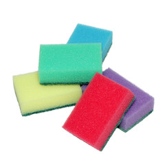 Sponges for washing dishes in a heap.
