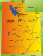detailed vector map of utah state, usa