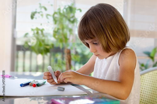 Elementary school pupil homeworking
