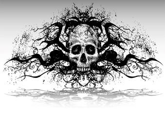 vector illustration tattoo design set (skull)