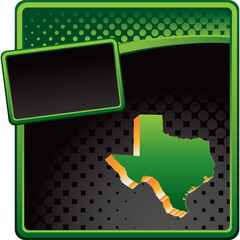 Texas icon on green and black halftone advertisement