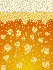 Abstract foamy light beer vertical vector background.