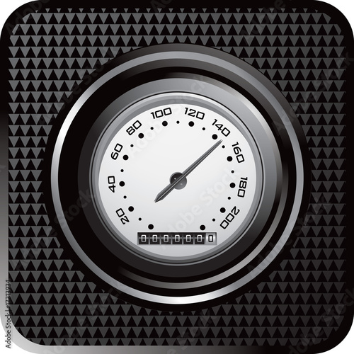 Speedometer on black checkered web button