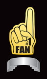 Fan hand on silver display poster