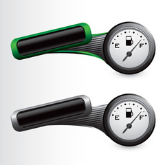 Gas gauge on green and gray tilted tabs