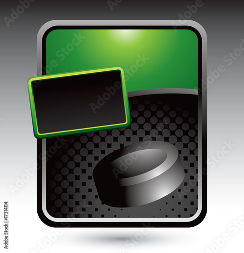 Hockey puck on green stylized advertisement