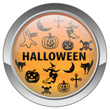 Halloween button with various scary characters